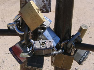 Locks on a gate