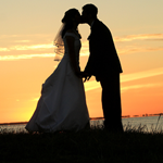 Bride and Groom - Sunset Kiss