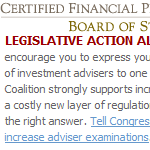 I just renewed my CFP designation. They oppose FINRA oversight of CFP advisors.