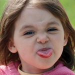Girl with tongue