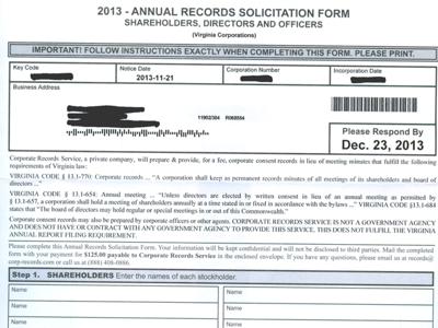 Corporate Records Service Scam