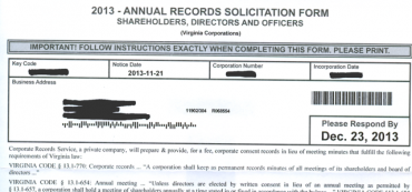 """Corporate Records Service"" Is A Scam"