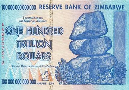 Zimbabwe 100 Tirllion Dollar Bill