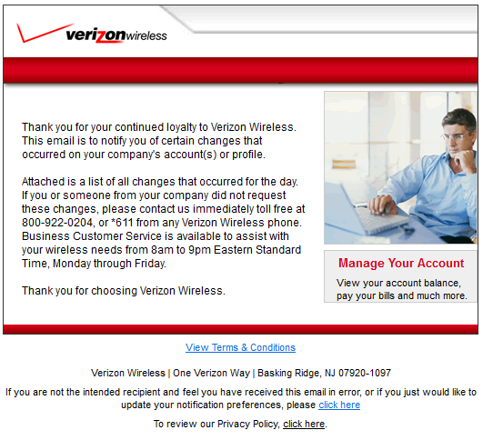 VerizonWireless com Suspicious Email With Attachments