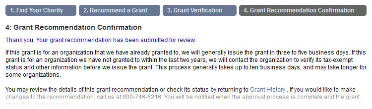Step 4 - Grant Recommendation Confirmation