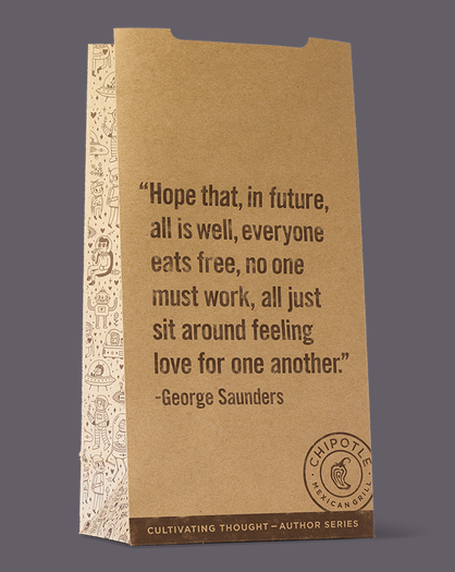 "Chipotle bag featuring ""Two-Minute Note to the Future"" by George Saunders"