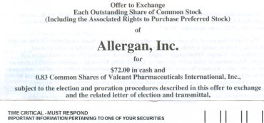 Should I Tender My Allergan Shares To Valeant Pharmaceuticals?