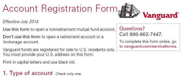 Vanguard Trust Account Form