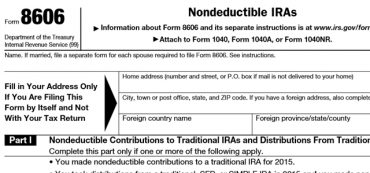 After-Tax IRA Contributions Must Be Reported On IRS Form 8606