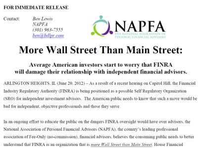 NAPFA 2012-06-20 Press Release