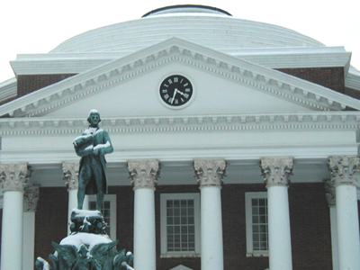 Jefferson and the Rotunda in the snow