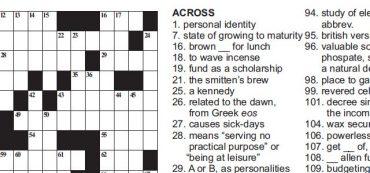 Free Printable Online Crossword Puzzle