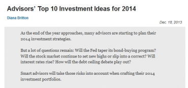 Marotta Featured in Advisors' Top 10 Investment Ideas for 2014